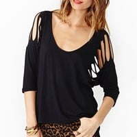 Shredded Dolman Tee