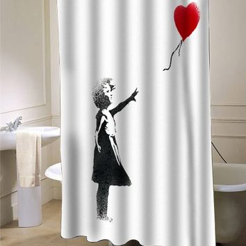 girl banksy shower curtain - myshowercurtains