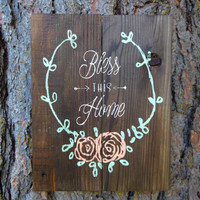 """Joyful Island Creations """"Bless this home"""" wood sign/ mint and coral sign/ laurel wreath sign"""