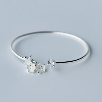 Fashion flower and stars 925 Sterling Silver bracelet, a perfect gift