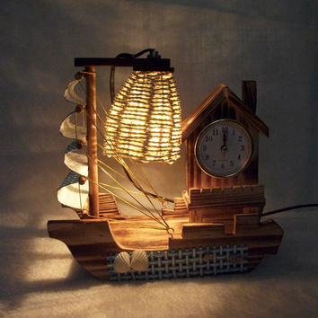 EU Plug for choose Romantic Retro Incandescent Bulbs Home Decor Night Light Bed Lamp Table Lamp Decoration Crafts With Clock