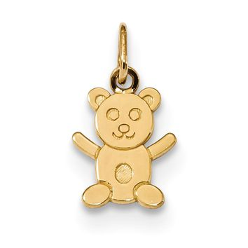 14k Yellow Gold Small Flat Teddy Bear Charm or Pendant, 9mm (3/8 inch)