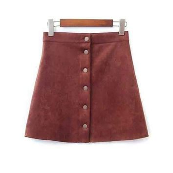 Single Breasted Faux Suede A-Line Skirt - Brown S