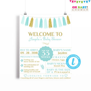 Baby Shower Poster, Blue and Gold Baby Shower Welcome Sign Template, Chalkboard Sign, Boy Baby Shower, Printable Sign, 16x20 Digital TASBG