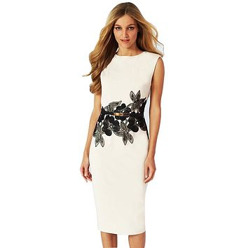New Design Cocktail Party Sleeveless Stretchy Bandage Bodycon with Sashes Floral Printed Sheath Knee-Length Pencil Dress White