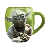 Vandor 99068 Star Wars Yoda 18 oz Oval Ceramic Mug, Green