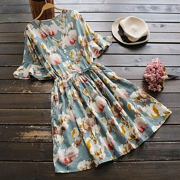Summer Casual Sweet Dress Women's Short Sleeved V Neck Floral Printing Button Vestidos Femininos Cotton Linen Midi Dresses U561