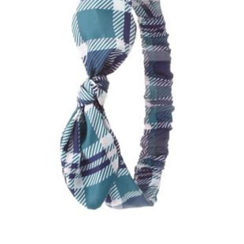 Teal Combo Wired-Bow Plaid Head Wrap by Charlotte Russe