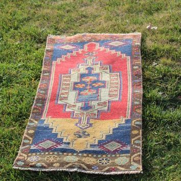 Oushak Blue  Red Bath  Moroccan Style Rug, Antique Vintage Oushak Turkish Kilim Area Rug, 1.6 x 3.7  Feet  AG920