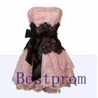 Custom made short formal lace prom dresses short lace evening dress Bridesmaid dress custom any size and color