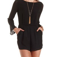 Sheer-Striped Long Sleeve Romper by Charlotte Russe