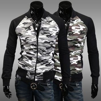 Camouflage Hoodies Hats Men Slim Tops Men's Fashion Jacket [6528675395]