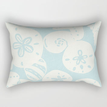 Cream Seashells on Aqua Rectangular Pillow by Noonday Design