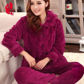 Sleep Autumn Pyjamas Women Winter Coral Velvet Long Sleeve Female Pajama Sets Thick Warm Sexy Pajamas XXL Pyjama Femme Homewear