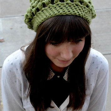 Solid Green Crocheted Slouch Hat