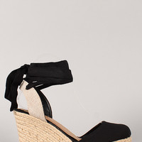 Round Toe Espadrille Ankle Wrap Wedge