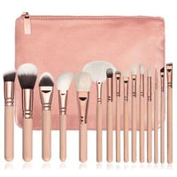2017 15PCS Professional Makeup brushes set Complete Eye Kit Beauty Concealer Powder Foundation Eyeshadow brush+Cosmetic bag Pink