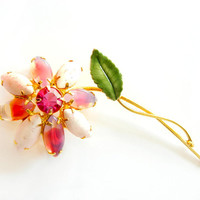 Pink Candy Art Glass Brooch Weiss Juliana Flower Jewelry Enamel Rhinestone Pin Vintage Collectable Spring Summer Pink