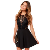 Sexy Women Dress Vintage Black Floral Lace Dress O-neck Sexy Short Evening Party Dresses Vestido De Festa SM6