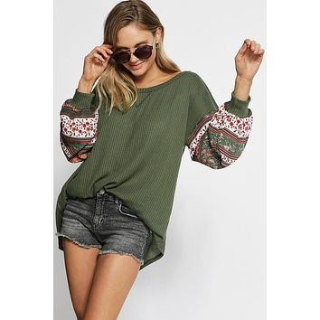 Thermal Waffle Knit Top with Boho Print Balloon Sleeves - Olive