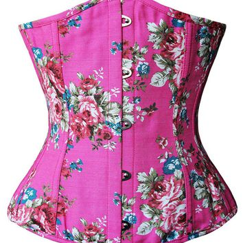 Atomic Pink Denim Floral Fantasy Corset