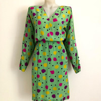 UNGARO!!! Vintage 1980s 'Ungaro' chartreuse silk dress with colourful abstract dot print and padded dolman sleeves / Made in Italy