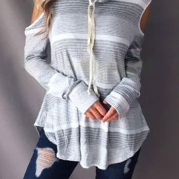 New Grey Striped Cut Out Drawstring Ruffle Collar Casual T-Shirt
