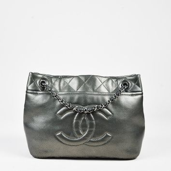 "Chanel ""Timeless Soft Shopping Tote"" Metallic Silver Leather Quilted Bag"