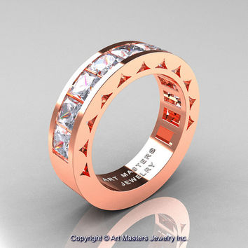 Mens Modern 14K Rose Gold Princess Russian Cubic Zirconia Channel Cluster Wedding Ring R274-14KRGRCZ