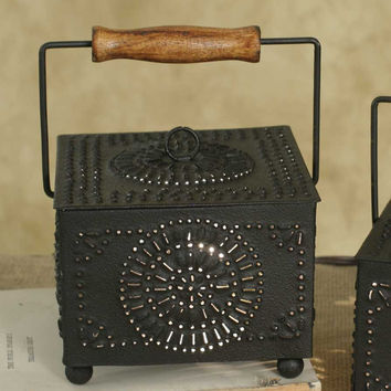 Farmhouse Country cabin square metal pinwheel wax warmer cozy rustic home decor
