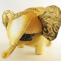 "Stuffed animal ""mechanical"" steampunk elephant, gold, fun home decor or toy with gears"