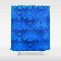 Twilight Shower Curtain by Gréta Thórsdóttir  #scandinavian #snowflake #pattern #blue #cobalt #ombre #nightfall #bathroom