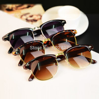 Fashion Eyewear Retro Mirror Sunglasses Women Men Unisex Sun Glasses Half Metal Sunglasses