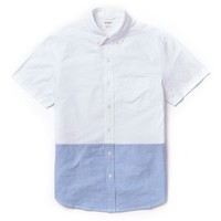 Rhodes Collar Oxford - Short Sleeve - White & Blue Color Block