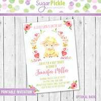 Baby Shower Invitation, Lamb Invitation, Baby Shower Party Invite, Baby shower little lamb invitation, Baby Shower party invitation