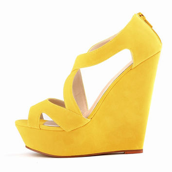 women ladies high heels platform women court casual pumps wedding ankle boots shoes Yellow