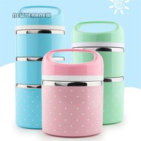 NEWYEARNEW Portable Thermal Stainless Steel Lunch Container For Food Container Bento Box Anti overflow Kitchen Box Gift