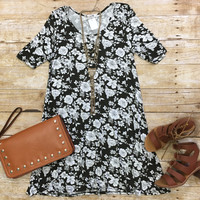Just my Type Floral Tunic Dress: Olive