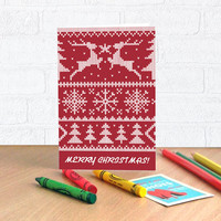 Christmas Greeting Cards, Season's greetings holiday card with envelope, Scandinavian knitted pattern cards