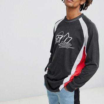 ASOS DESIGN relaxed longline long sleeve rally t-shirt with mesh panels at asos.com