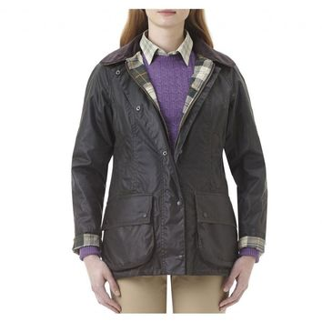 Classic Beadnell Wax Jacket in Sage Green by Barbour