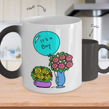 Gender Reveal Color Changing Coffee Mug-Boy Flowers
