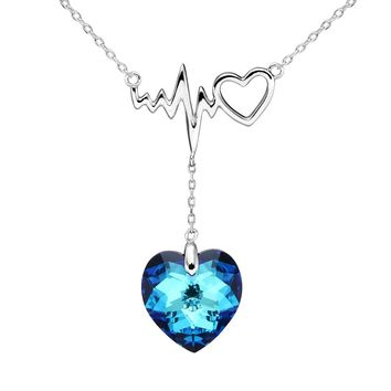 925 Sterling Silver Dangling Love Heart of Ocean Lightning Bolt Bridal Pendant Necklace Made with Swarovski Crystals