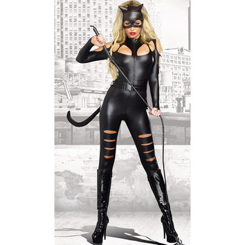 Cat Girl Teddy Sexy  Costume Club Party Dress Long Tail  Cosplay Costume  One Size