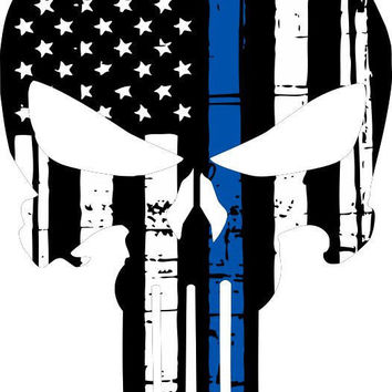 "Thin Blue Line Punisher Skull, American Flag Decal/ Sticker 6"" x 4"""