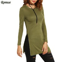 New Arrival Autumn Woman Basic T shirts Casual Ladies Plain Green Round Neck Long Sleeve Split Side T-shirt