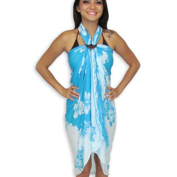 Hawaiian Hibiscus Sarong - Light Blue