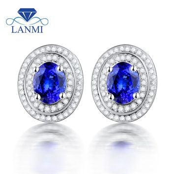 14KT White Gold Natural AAA Tanzanite Stud Earrings For Women  Diamond Tanzanite Earrings