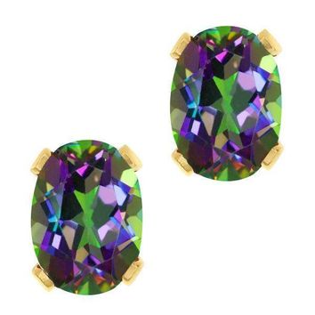 1.90 Ct Oval Shape Green Mystic Topaz Yellow Gold Plated Brass Stud Earrings