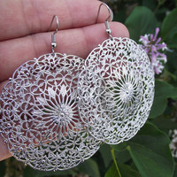 Lacy Silver Filigree Medallion Earrings Silver by JSWMetalWorks